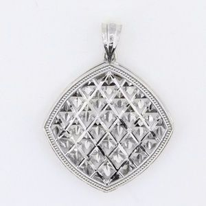 REAL 14K White Gold Filigree Custom Made Pendant