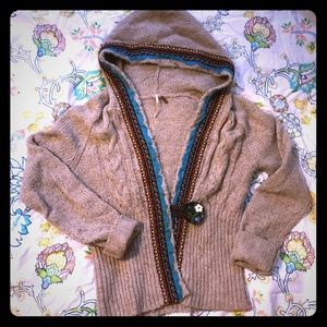 Free People. Hooded Single-Button Sweater. M.