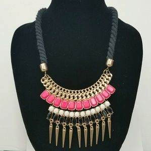 Punk Pink Rope & Spikes Statement Necklace
