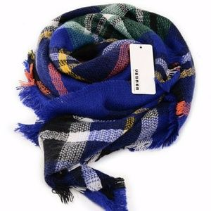 NWT oversize royal blue tartan plaid blanket scarf