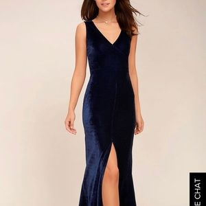 Lulus Navy Velvet Dress