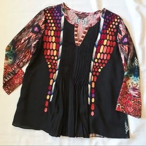 Anthropologie Red Black Ranna Gill Top Blouse S