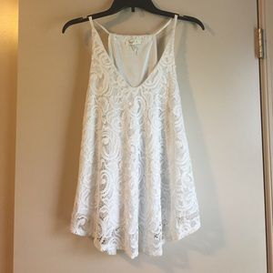 Tops - White Lace Tank