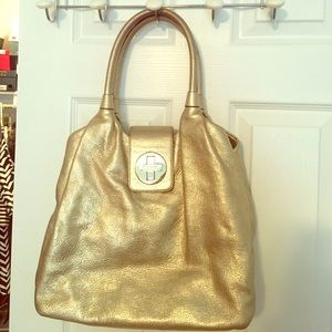 Kate spade metallic gold leather hobo