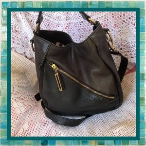 Kelsi Dagger Black Leather Bucket Shoulder Bag