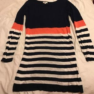 Navy and coral striped dress