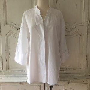 Zara White Oversized Button Down Shirt