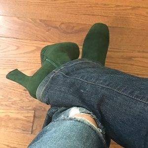 Worthington Fall green suede platform ankle boots