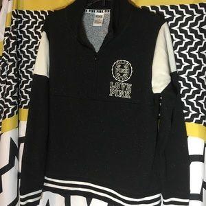 Pink Sweatshirt speckled black white Logo on back