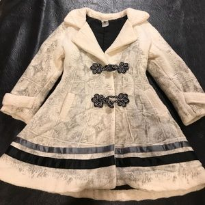 Save the Queen A-line coat toggle ribbon padded