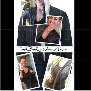 BCBGMaxAzria Open Front Leather Peplum Jacket