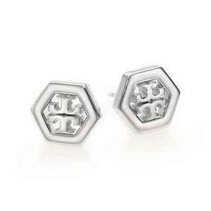 Authentic Tory Burch silver hexagon studs