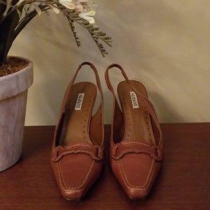 Alfani chestnut brown leather heels/slingbacks