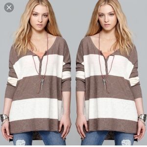 Free people gold rush rugby striped sweater m