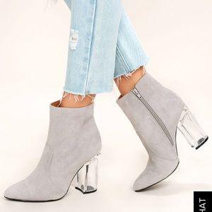 Lulu's Light grey suede lucite ankle bootie