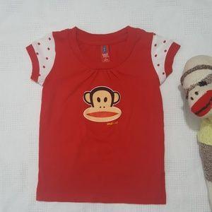 Paul Frank Monkey Red Short Sleeve Top - 4T