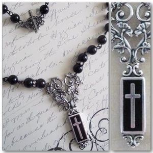 Guinevere's Cross Black & Silver Cross Necklace