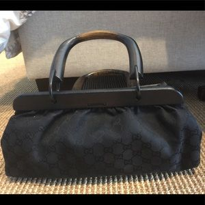 Gucci black doctor bag with wooden handles