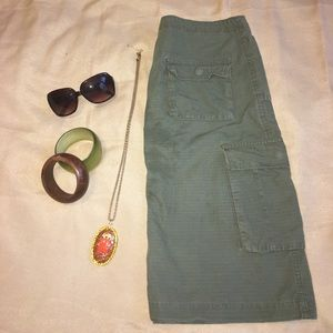 Army green cargo skirt