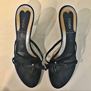 Fendi Black Leather Bow Tie Heels