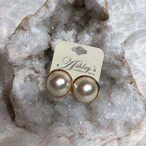 Costume Large Pearl Earrings