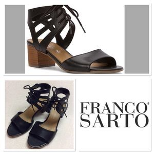 6M FRANCO SARTO flourish black leather sandals