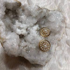 Cluster Pearl Costume Earrings