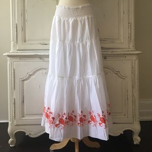 White Maxi Boho Skirt with Red Flower Embroidery