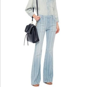 Frame Denim Striped High Rise Flare Jeans