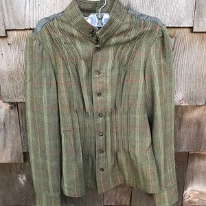 Free People Green Plaid Blazer Ruffle Jacket Sz 4