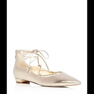 Ivanka Trump Tropica Metallic Lace Up Ballet Flats