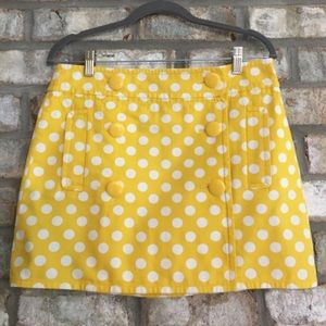 J. Crew Yellow Polka Dot Mini Skirt