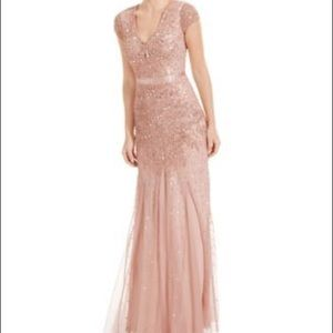 Adrianna Papell Blush Cap-Sleave Embellished Gown