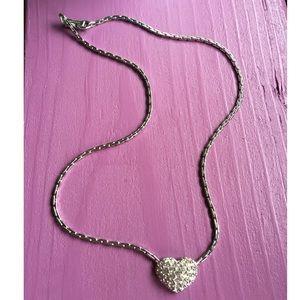 Genuine Swarovski Crystal Silver Heart Necklace