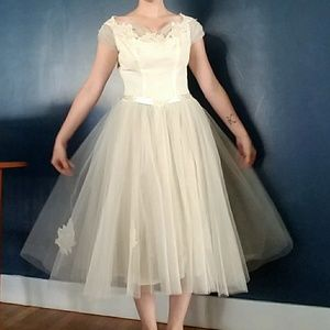 1960s Handmade Vintage Tea Length Wedding Gown