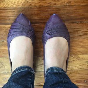 EUC miz mooz purple leather pointed flats!