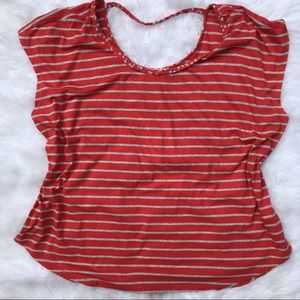 Two by Vince Camuto Striped Braided Neck T-Shirt