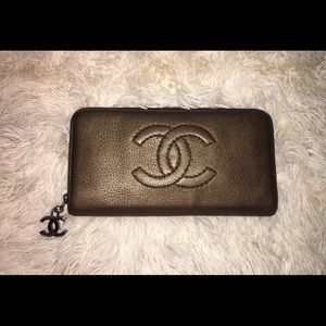 Auth Chanel CC logo Long Wallet