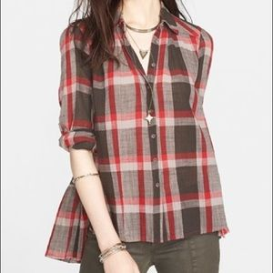 Free People Peppy Plaid back ruffle flannel top