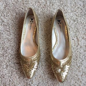 Daniblack gold sequin flat shoes