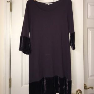 Boden sweater dress velvet trim