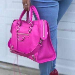 Hot Pink Metallic Edge Balenciaga City bag