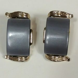 Mid-century vintage grey lucite clip on earrings