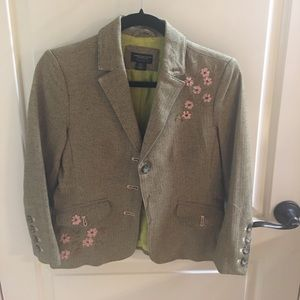 Great embroidered blazer small olive pink small