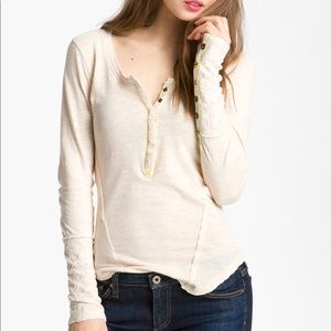 Free People The Lace Cuff Henley