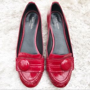 KATE SPADE Red Button Loafers
