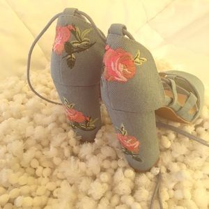 Blue Denim Ankle Tie Chunky Heel Sandals