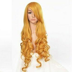 Long Wavy Heat Resistant Hair Yellow Wig