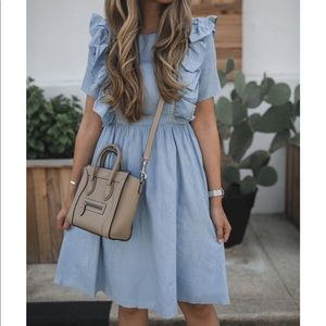 Chambray Ruffle Dress