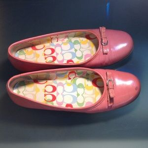 Pink patent leather Coach Flats